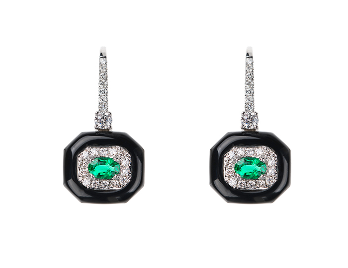 Nikos Koulis Oui Collection enamel, emerald, and round brilliant cut diamond earrings in 18k white gold.