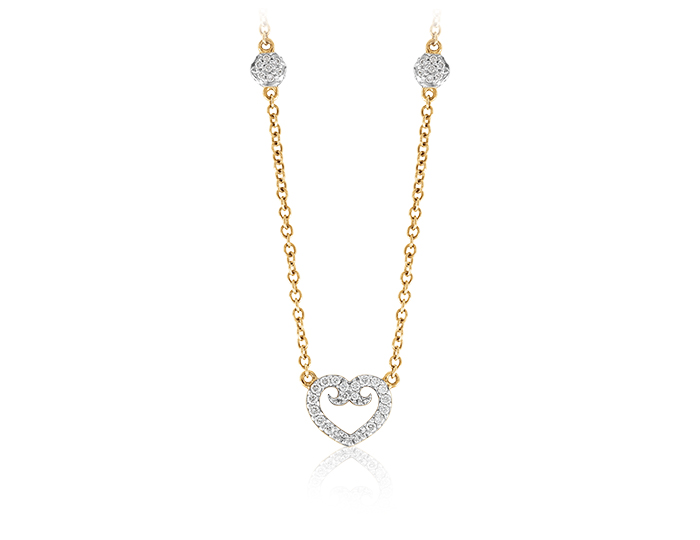 Round brilliant cut diamond heart pendant in 18k yellow gold.
