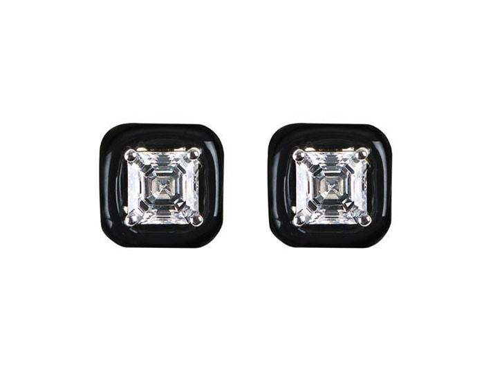 Nikos Koulis Oui Collection emerald cut diamond and black enamel earrings in 18k white gold.