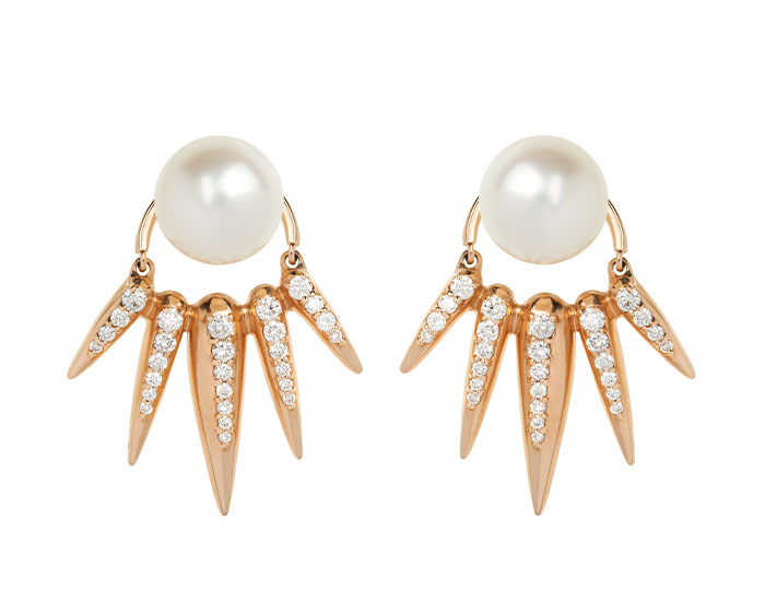 Nikos Koulis Spectrum collection cultured pearl earrings with round brilliant cut diamond earring jackets in 18k yellow gold.
