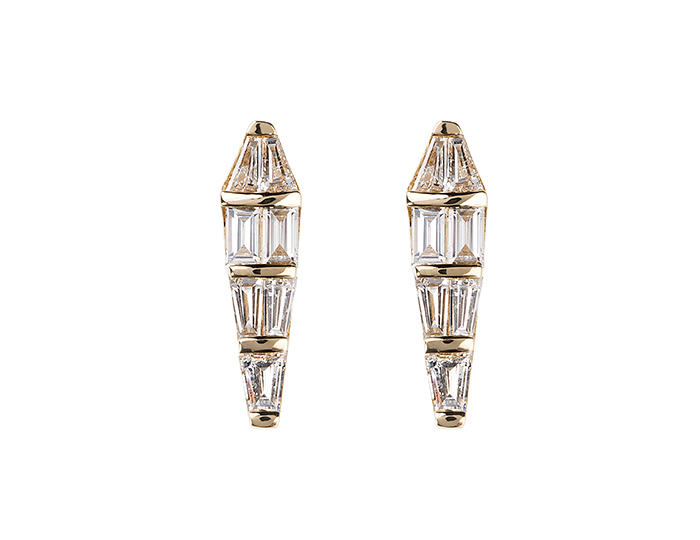 Nikos Koulis Spectrum Collection baguette cut diamond earrings in 18k yellow gold.