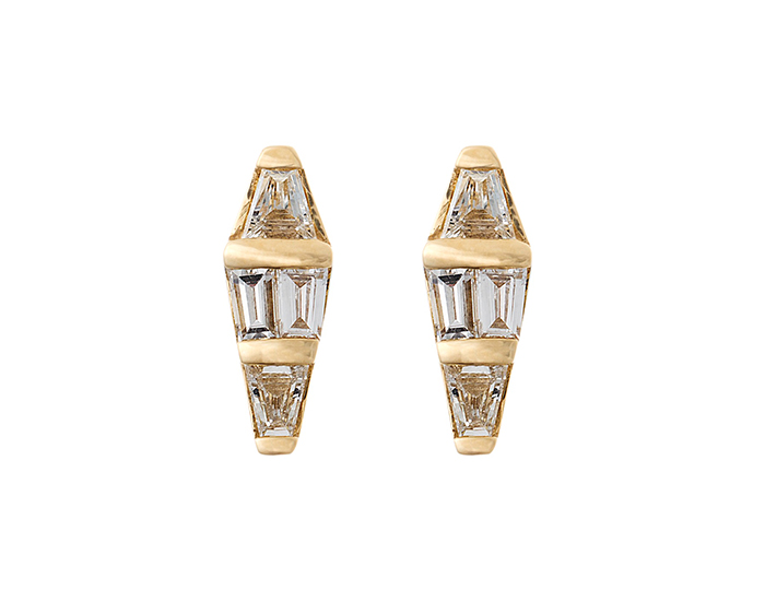 Nikos Koulis baguette cut diamond spectrum earrings in 18k yellow gold.