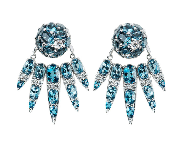Nikos Koulis Spectrum collection london blue topaz and diamond earrings and jackets in 18k white gold.