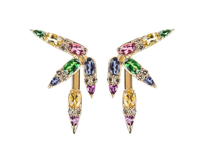 Nikos Koulis brown diamond, tsavorite, yellow beryl, iolite, rhodolite garnet and pink tourmaline spectrum earrings in 18k yellow gold.