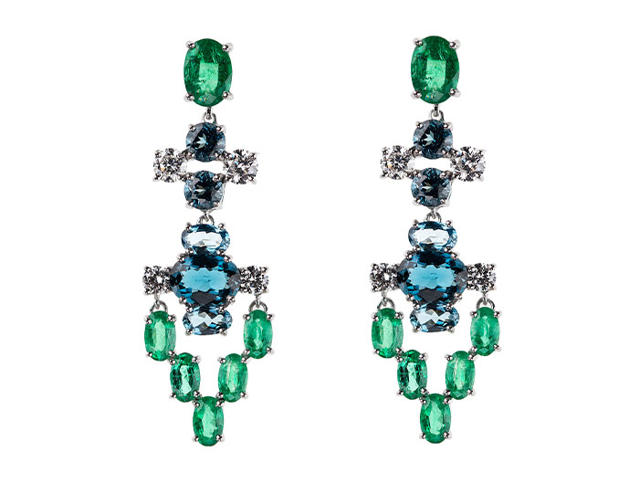 Nikos Koulis Eden collection emerald, london blue topaz and diamond earrings in 18k white gold.