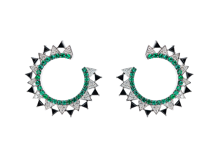 Nikos Koulis V Collection emerald, black onyx, and round brilliant cut diamond earrings in 18k white gold.
