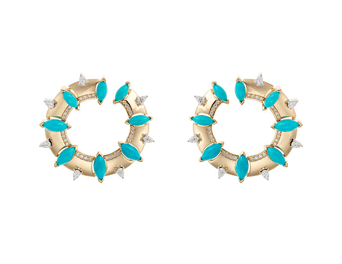 Nikos Koulis Spectrum collection turquoise and round brilliant cut and pear shaped diamond earrings in 18k yellow gold.