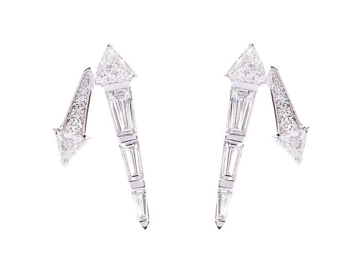 Nikos Koulis Energy collection trillion cut, tapered baguette cut and round brilliant cut diamond earrings in 18k white gold.