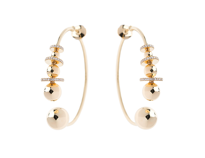 Nikos Koulis Lingerie Collection round brilliant cut diamond hoop earrings in 18k yellow gold.