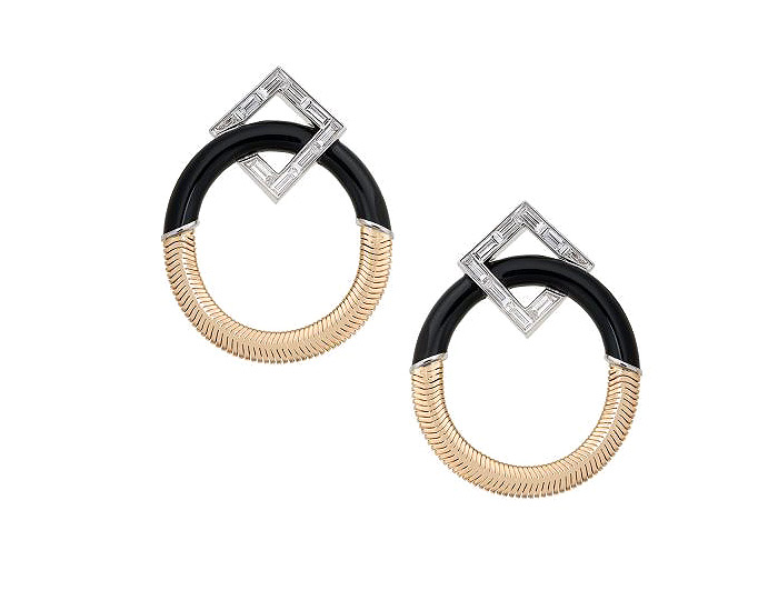 Nikos Koulis Feelings collection baguette cut diamond black enamel earrings in 18k yellow and white gold.