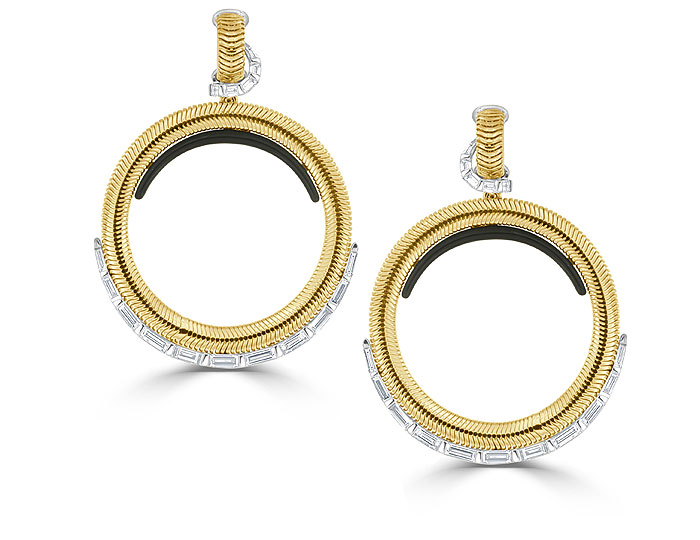 Nikos Koulis Feelings collection baguette cut diamond and black enamel earrings in 18k yellow gold.