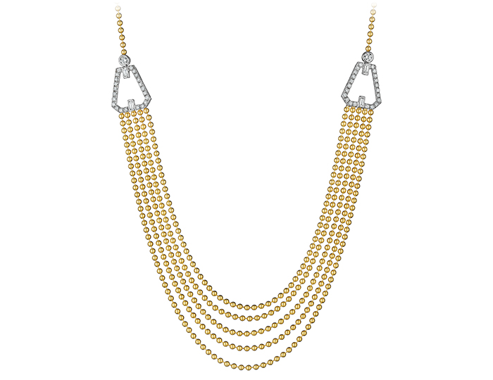 Maria Canale Flapper Collection baguette cut and round brilliant cut diamond necklace in 18k yellow gold.