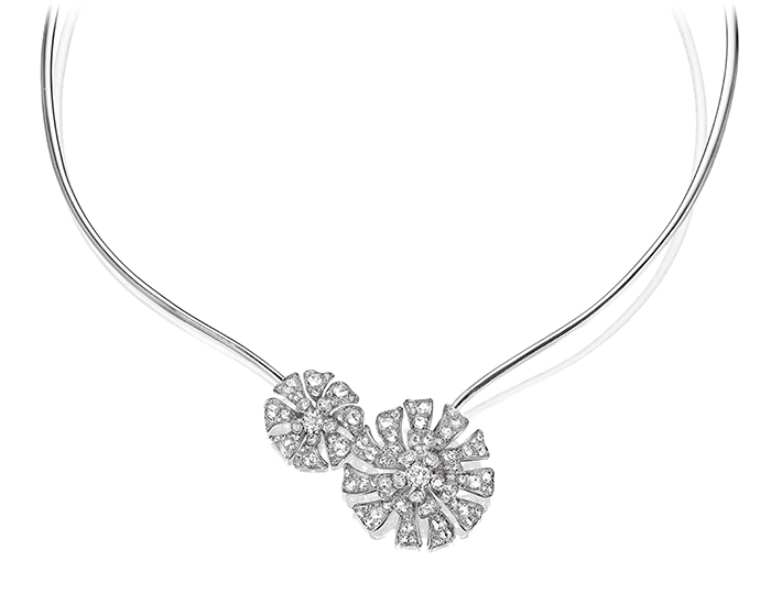 Maria Canale Aster Collection rose cut and round brilliant cut diamond collar in 18k white gold.