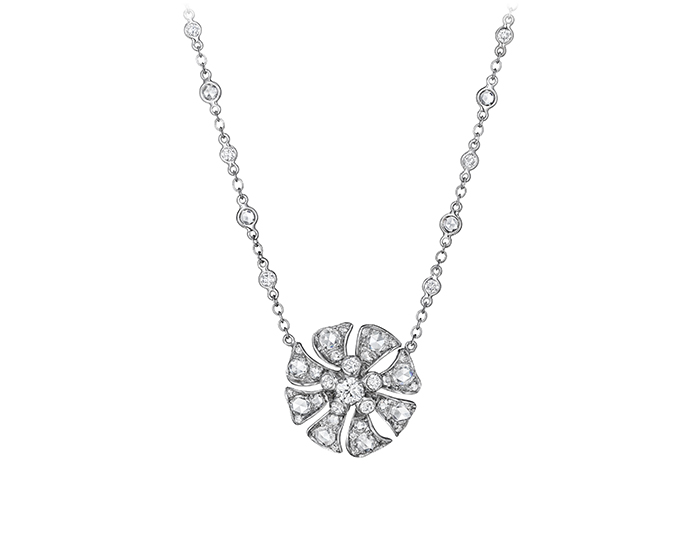 Maria Canale Aster Collection rose cut and round brilliant cut diamond necklace in 18k white gold.