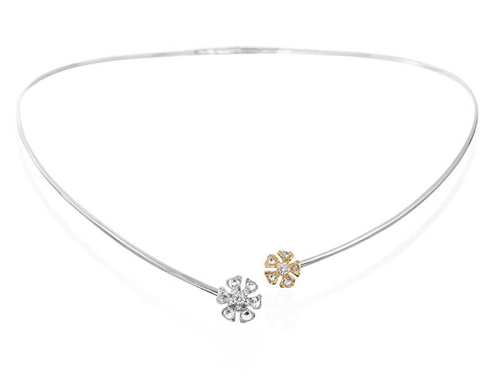 Maria Canale Aster Collection rose cut and round brilliant cut diamond collar in 18k white and yellow gold.