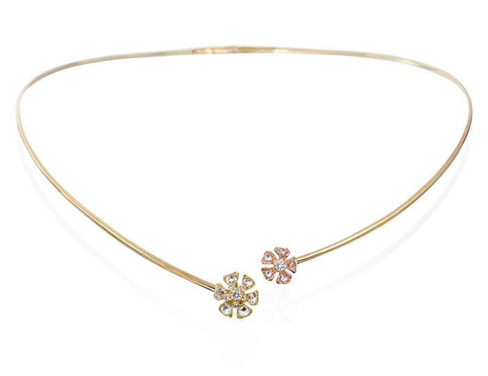 Maria Canale Aster Collection rose cut and round briliant cut diamond collar in 18k rose and yellow gold.
