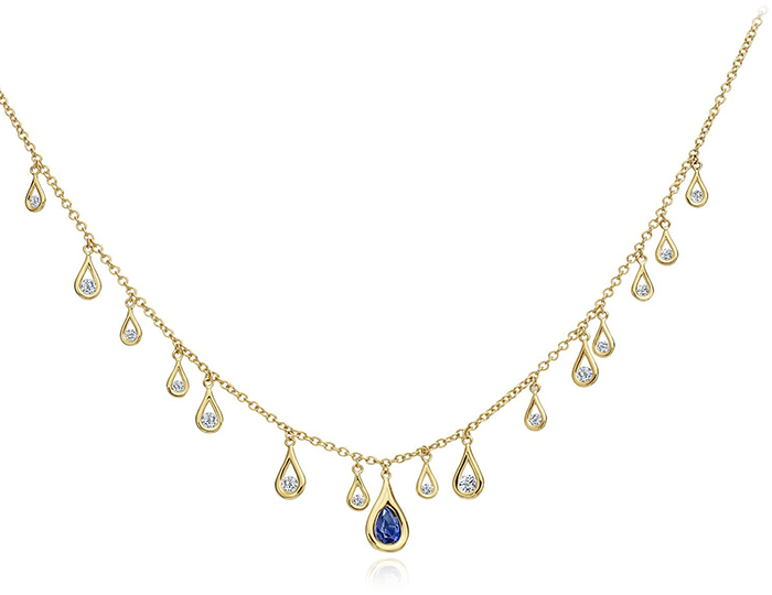 Maria Canale Drop Collection sapphire and round brilliant cut diamond necklace in 18k yellow gold.
