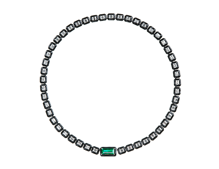 Nikos Koulis Oui Collection emerald cut diamond necklace with emerald in 18k white gold.