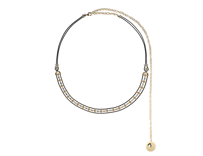 Nikos Koulis Lingerie Collection diamond necklace in 18k yellow gold.