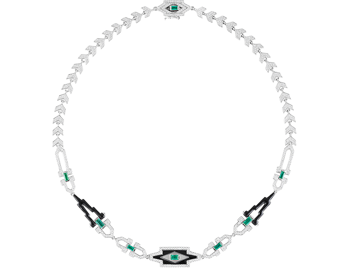 Nikos Koulis emerald, diamond and black enamel necklace in 18k white gold.