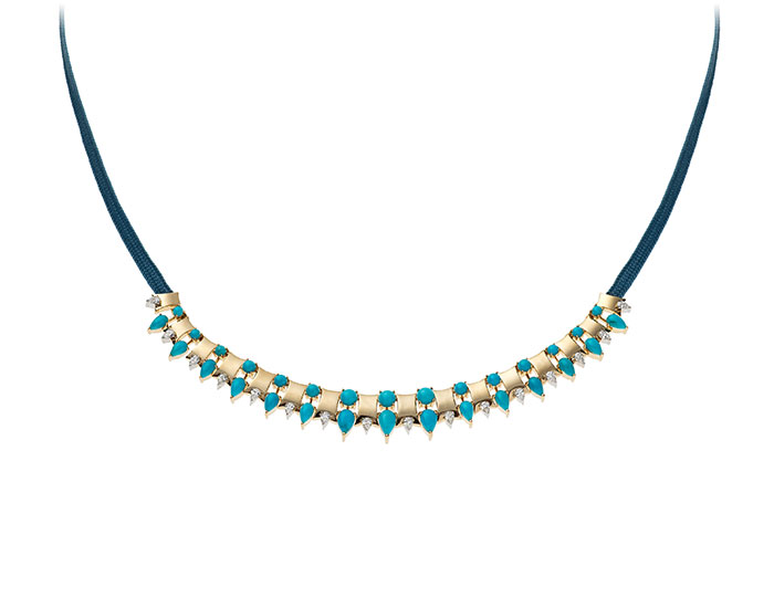 Nikos Koulis Spectrum collection turquoise and diamond necklace in 18k yellow gold.