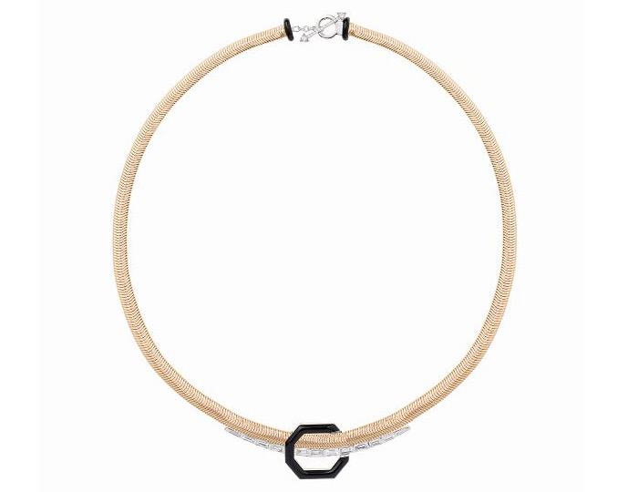 Nikos Koulis Feelings collection baguette cut and round brilliant cut diamond black enamel necklace in 18k yellow gold.