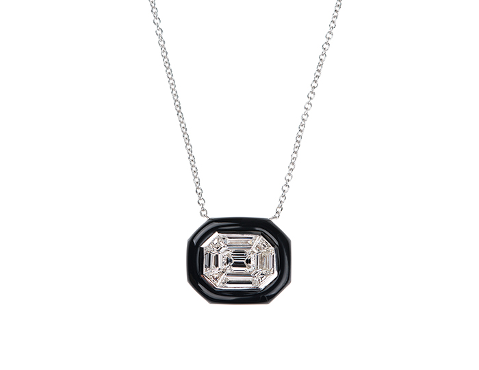 Nikos Koulis Oui Collection enamel and diamond necklace in 18k white gold.