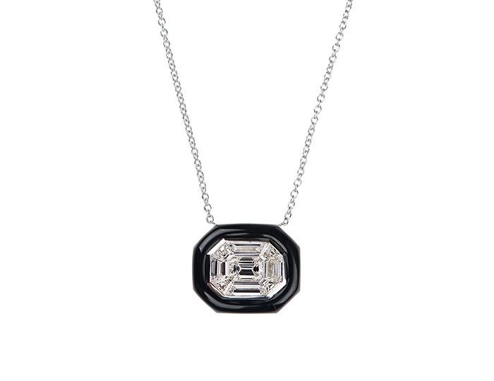 Nikos Koulis Oui Collection enamel and diamond necklace in 18k white gold.