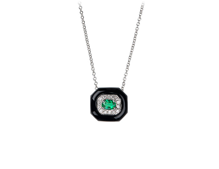 Nikos Koulis Oui Collection enamel, round brilliant cut diamond and emerald necklace in 18k white gold.