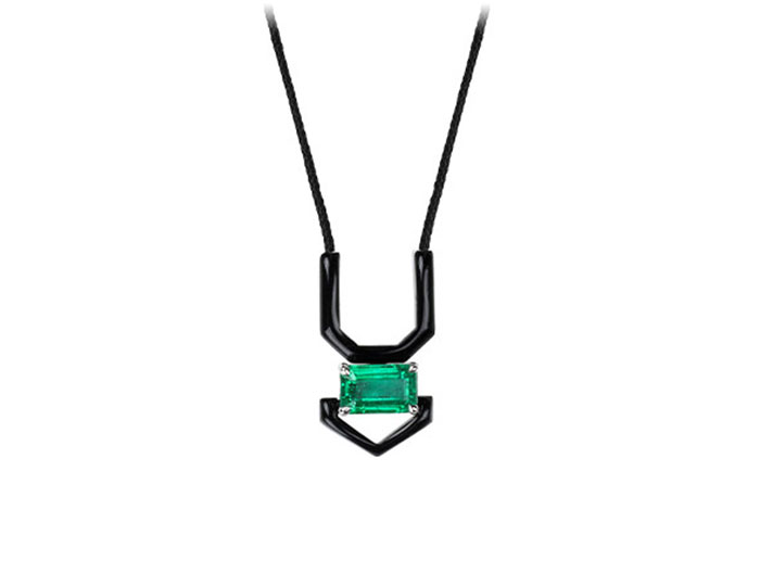 Niko Koulis emerald cut emerald and black enamel necklace in 18k white gold.