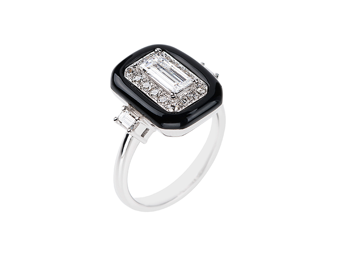 Nikos Koulis Oui Collection enamel with emerald, baguette and round brilliant cut diamond ring in 18k white gold.