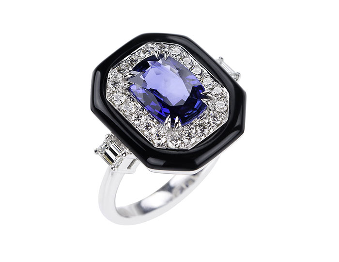 Nikos Koulis Oui collection sapphire, round brilliant cut diamond and black enamel ring in 18k white gold.