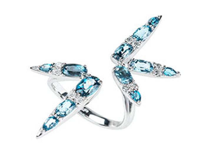 Nikos Koulis Spectrum collection london blue topaz and diamond ring in 18k white gold.