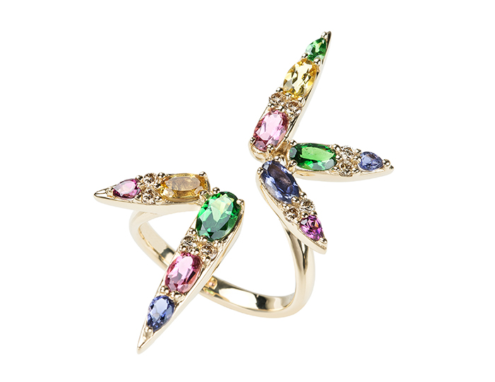 Nikos Koulis brown diamond, pink tourmaline, rhodolite garnet, iolite, yellow beryl and tsavorite sprectrum ring in 18k yellow gold.