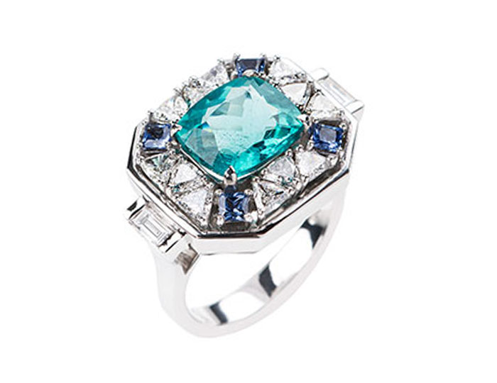 Nikos Koulis Yesterday collection apatite, sapphire and diamond ring in 18k white gold.