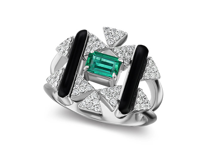 Nikos Koulis V collection emerald, diamond, and black enamel ring in 18k white gold.
