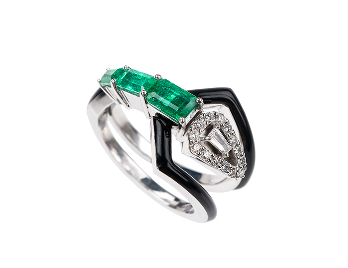 Nikos Koulis V Collection enamel, emerald, round brilliant and baguette cut diamond ring in 18k white gold.