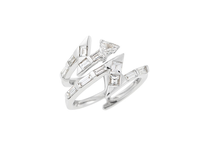 Nikos Koulis Energy collection trillion and baguette cut diamond ring in 18k white gold.