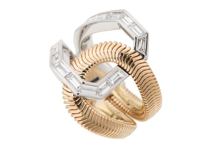 Nikos Koulis Feelings collection baguette cut diamond ring in 18k yellow and white gold.