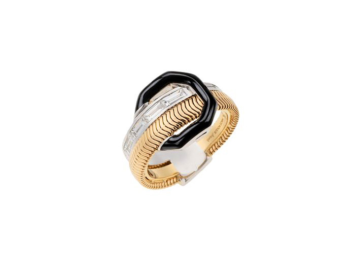 Nikos Koulis Feelings collection baguette cut diamond and black enamel ring in 18k yellow and white gold.
