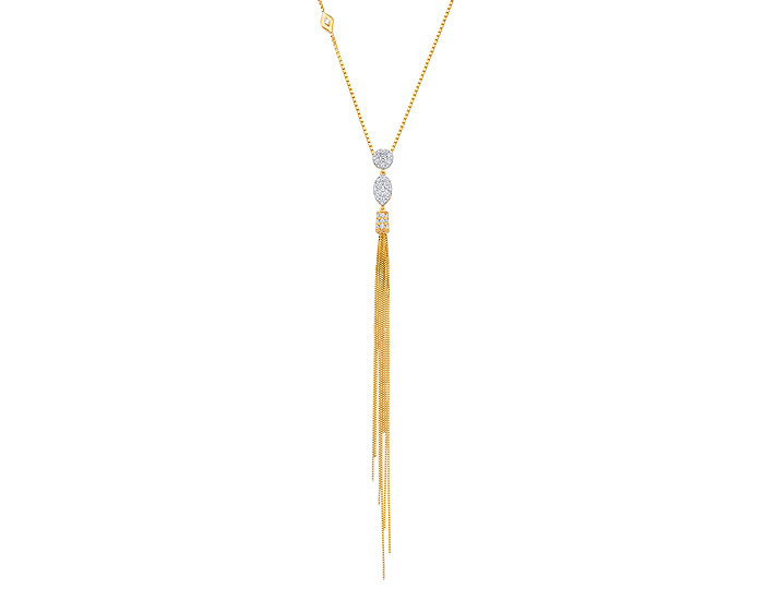 Sara Weinstock Nappa collection round brilliant cut diamond tassel necklace in 18k yellow gold.