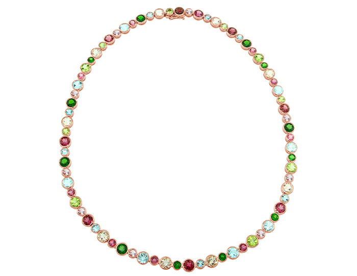 Morganite, chrome diopside, blue topaz, pink tourmaline, peridot, rhodolite garnet and aquamarine necklace in 18k rose gold.