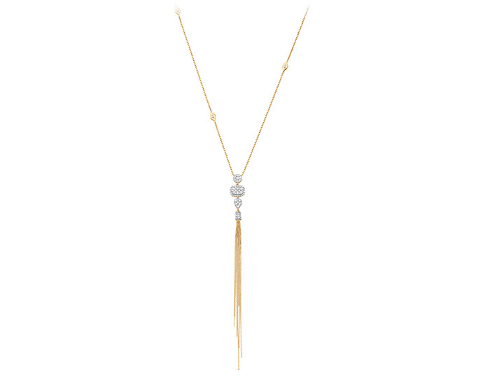 Sara Weinstock Nappa Collection round brilliant cut diamond necklace in 18k yellow gold.