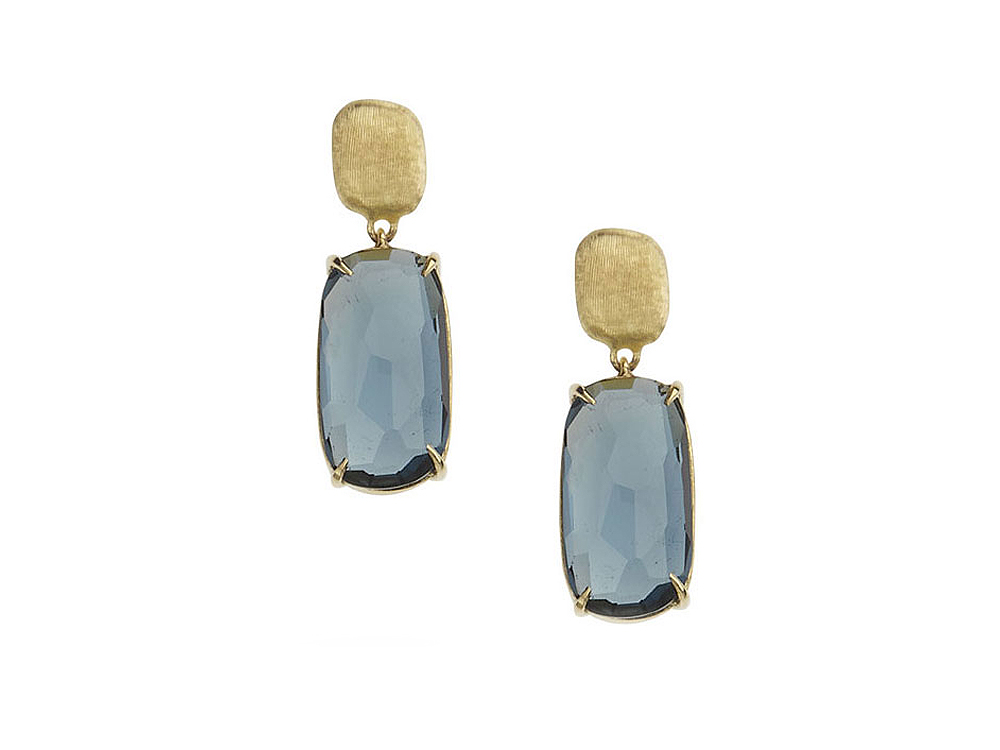 Marco Bicego Murano Collection London blue topaz earrings in 18k yellow gold.