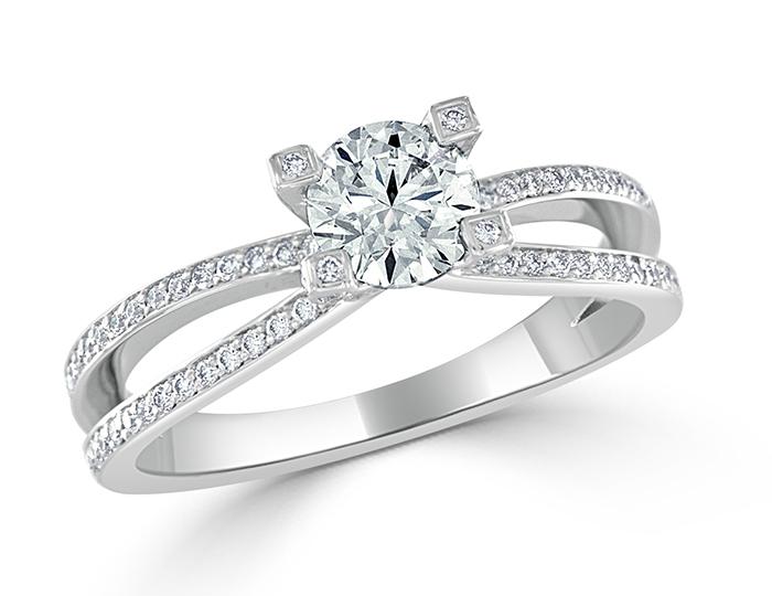 Bez Ambar round brilliant cut diamond engagement ring in 18k white gold.