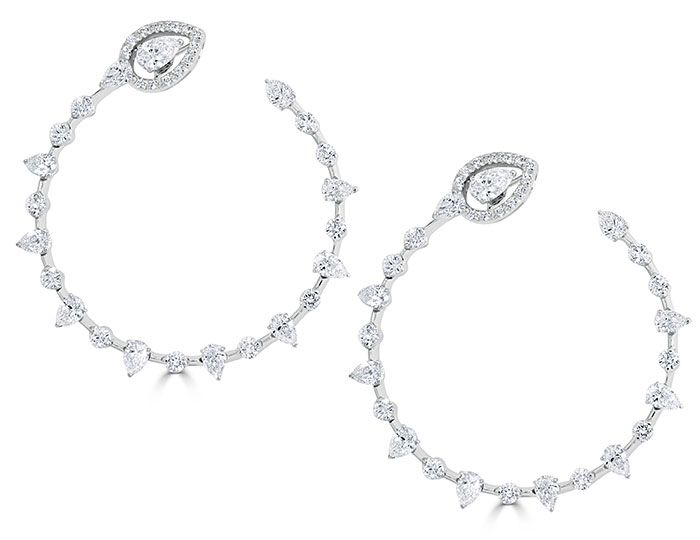 Casato Maureen collection pear shape and round brilliant cut diamond earrings in 18k white gold.