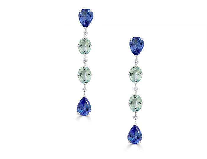 Casato Maureen collection pear shape tanzanite, oval aquamarine and round brilliant cut diamond dangle earrings in 18k white gold.