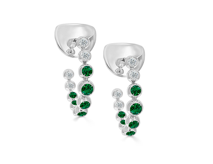 Casato emerald and round brilliant cut diamond hoop earrings in 18k white gold.