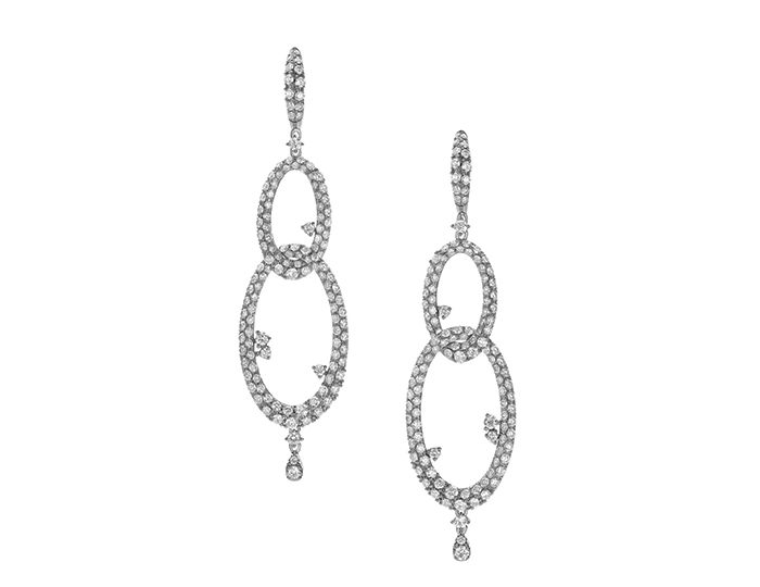 Casato Hold Me Tight Collection round brilliant cut diamond earrings in 18k white gold.