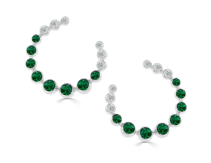 Casato emerald and round brilliant cut diamond earrings in 18k white gold.
